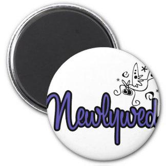 Newlywed-Indigo Blue 6 Cm Round Magnet