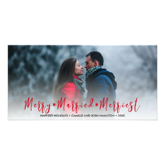 Newlywed Just Married Christmas Holiday Photo Card