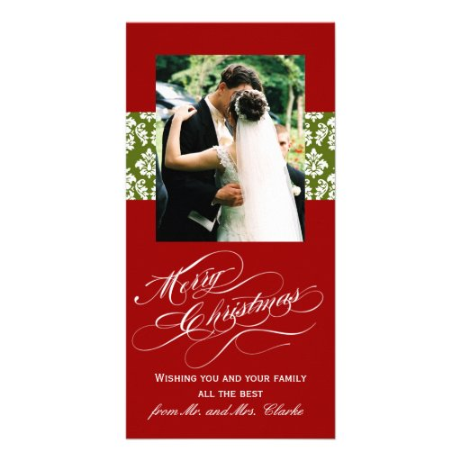 Newlywed Merry Christmas Photo Cards Green Damask