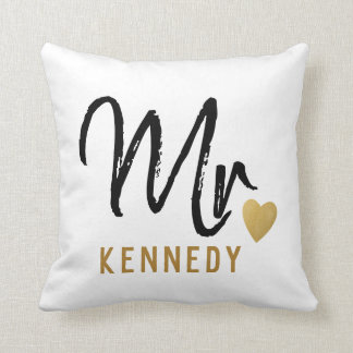 Newlywed Mr.Groom Black White Gold Wedding Cushion
