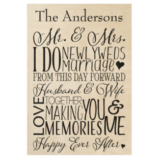 Newlywed Word Art Mr and Mrs Wood Poster