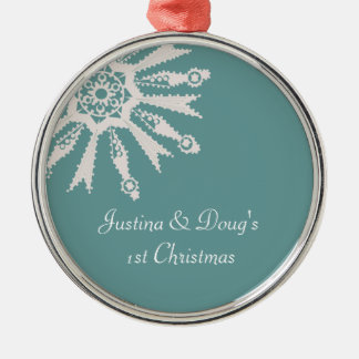 Newlyweds 1st Christmas Snowflake Commemorative - Christmas Tree Ornaments