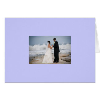 NEWLYWEDS AT THE BEACH-WEDDING WISHES GREETING CARD