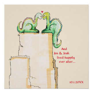 Newlyweds Cute Watercolor Dragons Dated with Names Poster