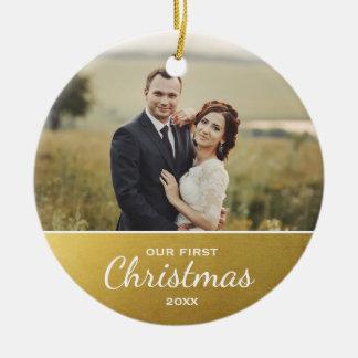 Newlyweds First Christmas Elegant Faux Gold Photo Round Ceramic Decoration
