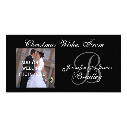 Newlyweds First Christmas Monogram Photo Card