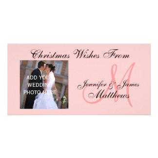 Newlyweds First Christmas Monogram Pink Photo Card