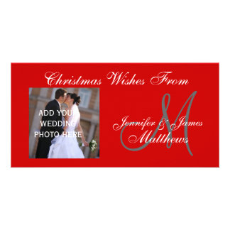 Newlyweds First Christmas Monogram  Red Photo Card
