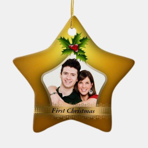 Newlyweds First Christmas Photo Ceramic Ornament