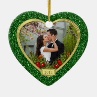 Newlyweds First Christmas Together Photo Christmas Ceramic Heart Decoration