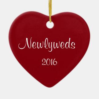 Newlyweds Heart Shaped Christmas Ornament