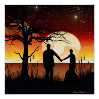 Newlyweds in the Moonlight Print