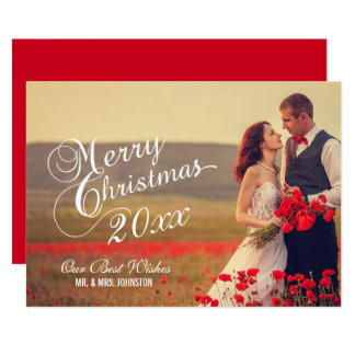 Newlyweds Merry Christmas | Holiday Photo Card 13 Cm X 18 Cm Invitation Card