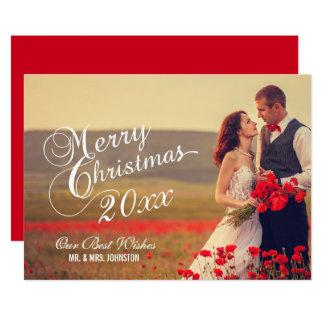 Newlyweds Merry Christmas   Holiday Photo Card 13 Cm X 18 Cm Invitation Card