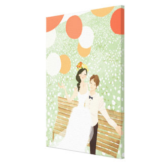 Newlyweds on a Garden Branch Stretched Canvas Prints