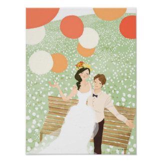 Newlyweds on a Garden Branch Posters