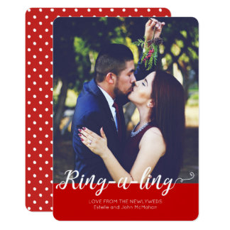 Newlyweds Ring-e-ling First Christmas Holiday Card