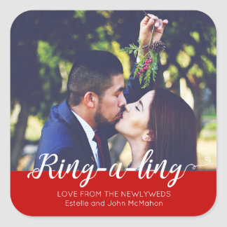 Newlyweds Ring-e-ling First Christmas Holiday Square Sticker