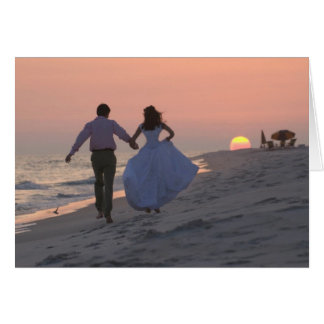 Newlyweds Running into the Sunset, the Future Greeting Card