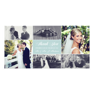 Newlyweds Thank You Photo Card Ice Blue