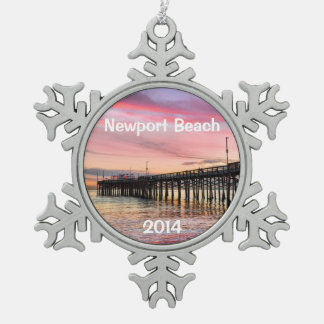 Newport Beach Balboa Pier Snowflake Pewter Christmas Ornament
