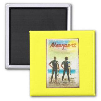 Newport California Vintage Surfer Print Square Magnet