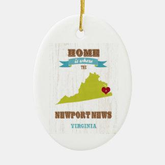 Newport News, Virginia Map – Home Is Where Ceramic Ornament