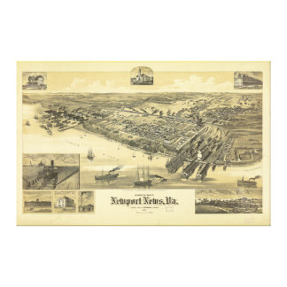 Newport News Virginia Warwick County Map 1891 Stretched Canvas Print