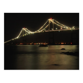 Newport Pell Bridge Narragansett Bay Night Postcard