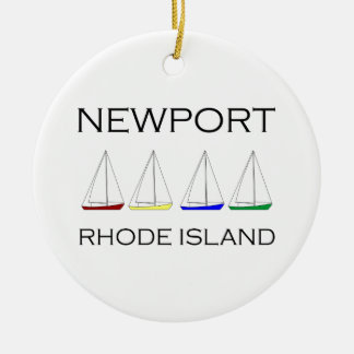 Newport Rhode Island Sailboats Ceramic Ornament