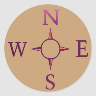 NEWS : Compass North East West South Round Sticker