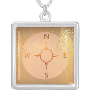 news east west north south compass square pendant necklace
