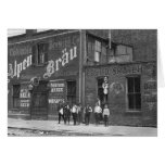 Newsboys Outside a Saloon, 1910 Greeting Card
