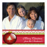 Newsletter on Back Red Ornament Christmas Card Personalised Invite