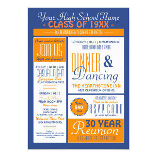 Newsletter Style High School Reunion 13 Cm X 18 Cm Invitation Card