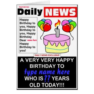 Newspaper Birthday Card