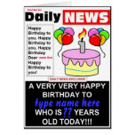 Newspaper Birthday Greeting Card