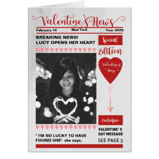 Newspaper cover special edition Valentine's Day Card