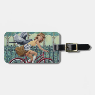 Newspaper Girl & Bicycle Luggage Tag