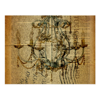newspaper scripts french country chandelier postcard