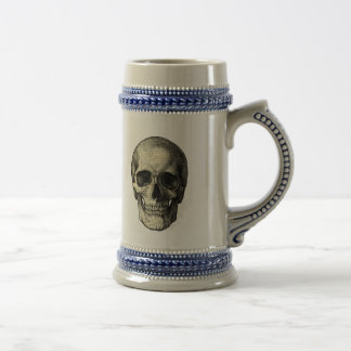 Newspaper skull beer stein