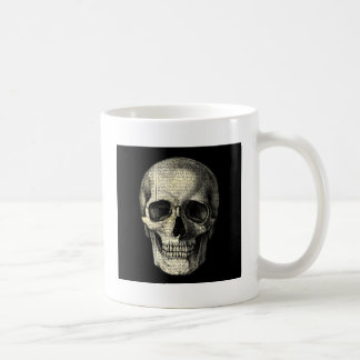 Newspaper skull coffee mug