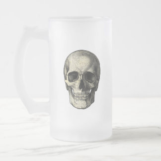 Newspaper skull frosted glass beer mug