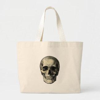 Newspaper skull large tote bag