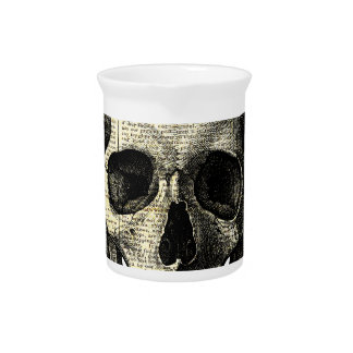 Newspaper skull pitcher