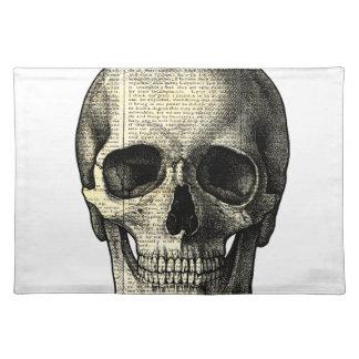 Newspaper skull placemat