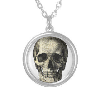 Newspaper skull silver plated necklace