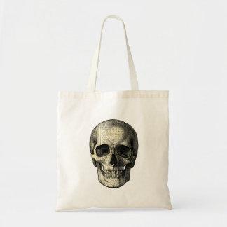 Newspaper skull tote bag