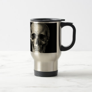 Newspaper skull travel mug