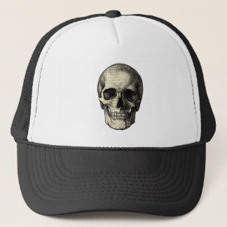 Newspaper skull trucker hat
